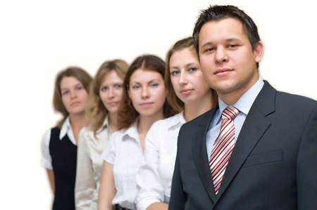 Business a team of five people with the man the leader at the head. On a white background. One man and four woman photo