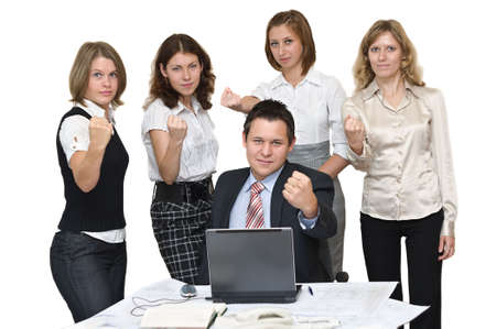 Five young busines people in office make threatening gestures. Isolated on white background Stock Photo - 5803111