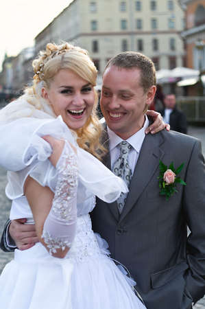 Loving newly-married couple on sunny day  photo