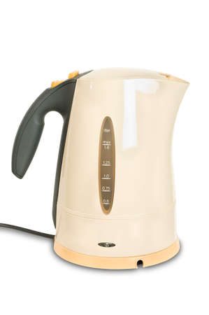 Electrical kettle isolated over white background with cable photo