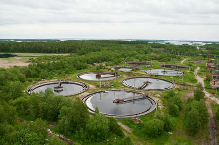 effluent: Group from the big sedimentation drainages. Stock Photo