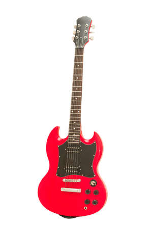 Red electric guitar isolated on the white background photo