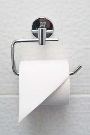 holder: Bathroom tissue hanging on the wall. Toilet paper on white tiles