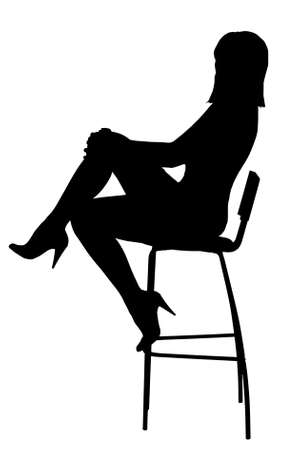 Silhouette of the sexual girl sitting on a high bar chair. Isolated on white background photo