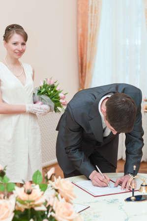 Young loving wedding couple on wedding ceremony Stock Photo - 7135174