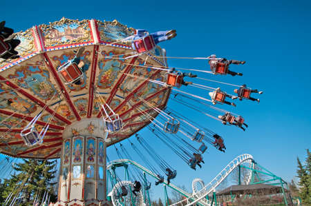 Action photo of carousel on blue sky Stock Photo - 7682688