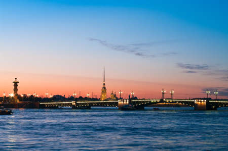 Paul and Peter fortress in Saint Petersburg, Russia in white nights from Neva river. Nightscene photo