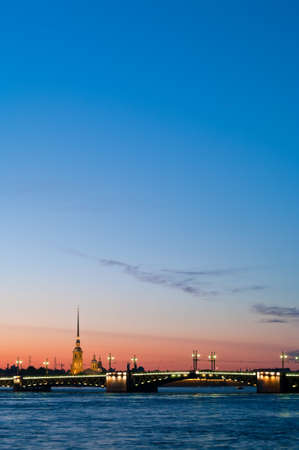 nightscene: Paul and Peter fortress in Saint Petersburg, Russia in white nights from Neva river. Nightscene