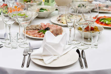 Formal dinner service as at a wedding, banquet Stock Photo - 7566636