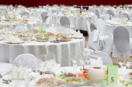 a marriage meeting: Formal dinner service as at a wedding, banquet
