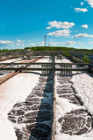 aguas residuales: El grupo de los drenajes de sedimentaci�n grandes. Agua de reciclaje, establecerse, purificaci�n en el tanque por organismos biol�gicos en la estaci�n de agua.
