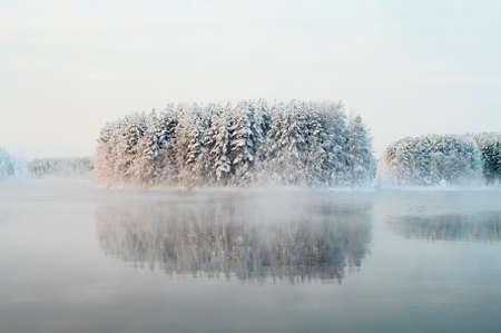 januar: Nicht fixierte Lake in den Winter-W�ldern von Karelien, Russland. Schwarzes Wasser und schneebedeckten brunches Lizenzfreie Bilder