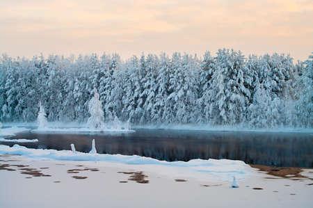 lagos: Lago congelado en los bosques de invierno de Karelia, Rusia. Agua negra y ramales cubierto de nieve