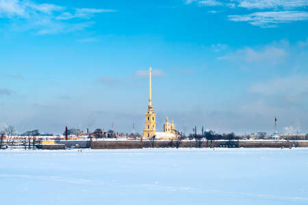 Paul and Peter fortress in Saint Petersburg, Russia. View from Neva river.  photo