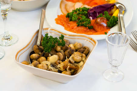 Plate with vinegar pickled mushrooms on table, cutlery for dinner, small jigger, selective focus. Stock Photo - 8986443
