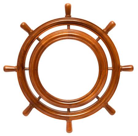 timone: Telaio in legno tondo in timone isolato su sfondo bianco