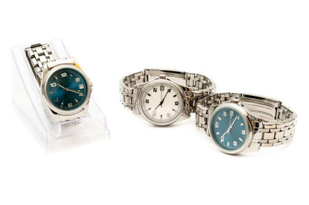 wrist: Three stainless men`s wristwatches isolated on white background Stock Photo