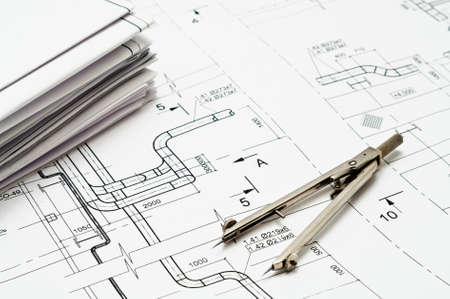 Design and working blueprints with compasses Stock Photo - 9250139