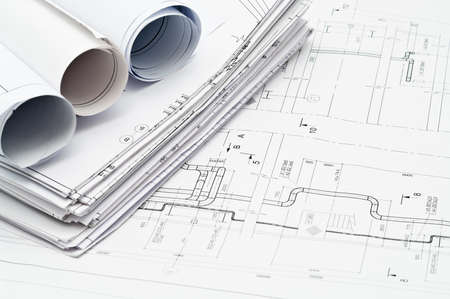 Design and working blueprints on table Stock Photo - 9248639