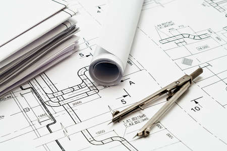 technical department: Design and working blueprints with compasses