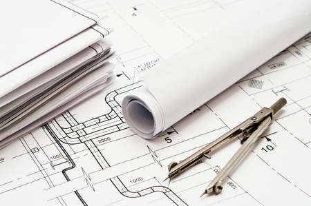 Design and working blueprints with compasses Stock Photo - 9248640