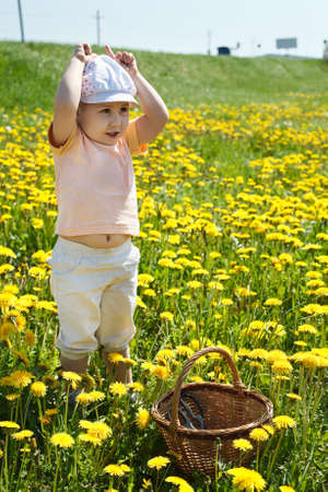 Little child standing on field of flowers with basket and playing in cow photo