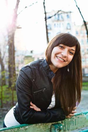 Portrait of beautiful happy smiling woman a brunette photo