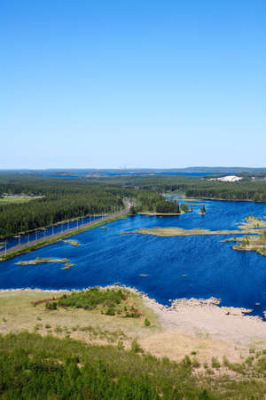 Panorama of lakes and woods of Karelia republic, Russia. Railway line. Top view Stock Photo - 9925498