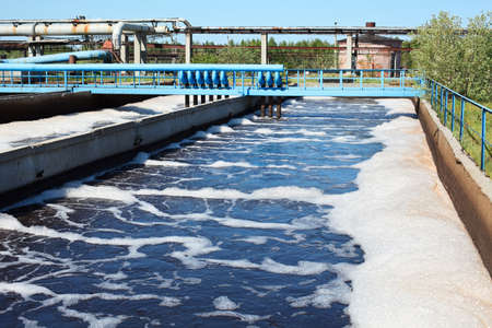 water pollution: Water recycling on sewage treatment station