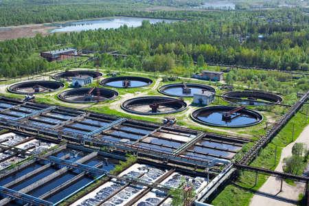 Eau de recyclage sur la station de traitement des eaux usées Banque d'images