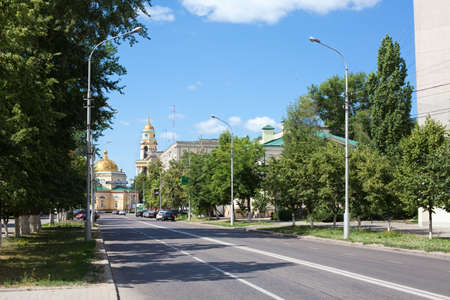 lenina: Lipetsk city, Russia - June 18, 2011 - Сathedral church of the Nativity and Lenina street