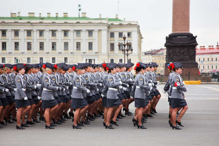 may 9: Saint-Petersburg, Russia - May 5 - Parade rehearsal before celebration of 66th Anniversary of Victory Day on Palace Square