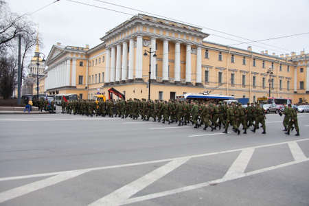 battalion: Saint-Petersburg, Russia - May 5, 2011: Parade rehearsal before celebration Anniversary of Victory Day on Palace Square. Across a road Editorial