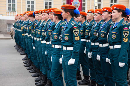 rehearsal: Saint-Petersburg, Russia - May 5 - Parade rehearsal before celebration of 66th Anniversary of Victory Day on Palace Square