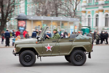 russian car: Saint-Petersburg, Russia - May 5: Military Russian car during rehearsal for the upcoming celebration of 66th Anniversary of Victory Day (WWII) Editorial