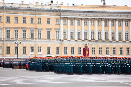 battalion: Saint-Petersburg, Russia - May 5 - Parade rehearsal before celebration of 66th Anniversary of Victory Day on Palace Square