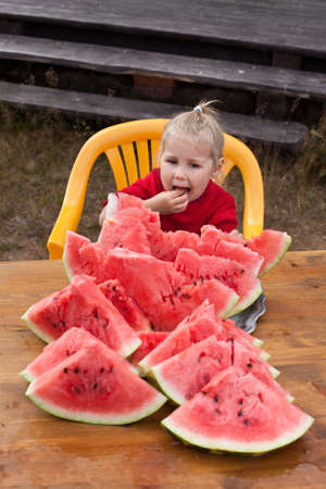 Little child eating watermelon. Many red slices on table. Outdoors photo