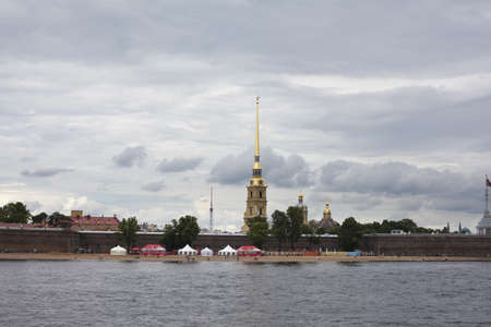 Saint Petersburg, Russia – July 17: view from water near Peter and Paul fortress across the Neva river.