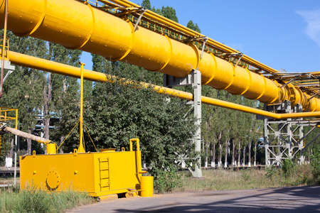 Industrial gas and oil pipelines on metal in a metallurgical plant. Stock Photo - 10326544