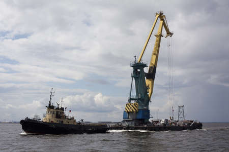 floatable: St. Petersburg, Russia � July 17: Transportation floating crane in the Finnish Gulf in Saint-Petersburg, Russia