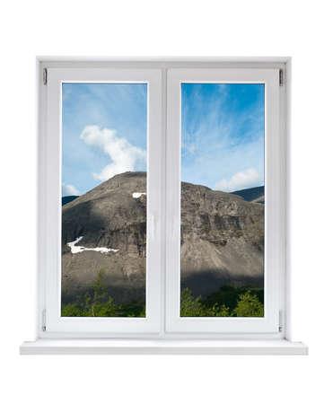 glasscheibe: Weiße Kunststoff Doppeltür Fenster mit Blick auf die ruhige Landschaft Lizenzfreie Bilder