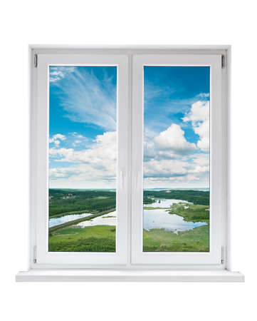 pvc: White plastic double door window with view to tranquil landscape