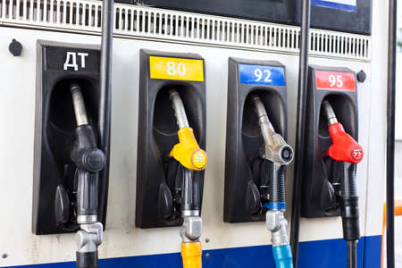Refueling nozzle in gas station. Close up Stock Photo - 10905017
