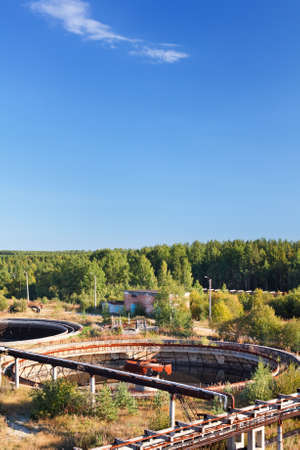 Big sedimentation drainage. Water recycling, settling, purification in water sewage station. Stock Photo - 10905005