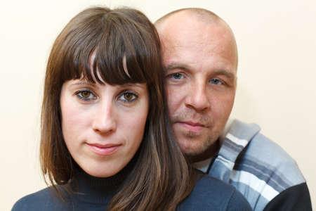 couples hug: Man and woman a loving couple together embracing