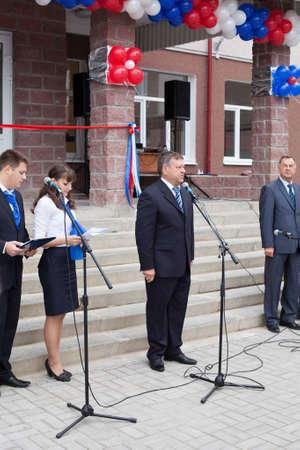 Saint-Petersburg, Russia-September, 1: Leningrad region Governor Valery Serdyukov during opening new Russian school.