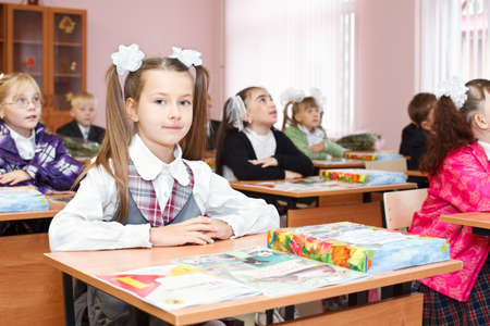 SAINT-PETERSBURG, RUSSIA - September 1: Karina Kravtsova, 7, from Vsevolozhsk, Russia first time in first class in school September 1, 2011in Saint-Petersburg, Russia. Stock Photo - 11063934