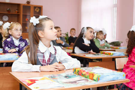 SAINT-PETERSBURG, RUSSIA - September 1: Karina Kravtsova, 7, from Vsevolozhsk, Russia first time in first class in school September 1, 2011in Saint-Petersburg, Russia. Stock Photo - 11063931