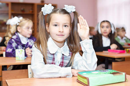 SAINT-PETERSBURG, RUSSIA - September 1: Karina Kravtsova, 7, from Vsevolozhsk, Russia first time in first class in school September 1, 2011in Saint-Petersburg, Russia. Stock Photo - 11063919