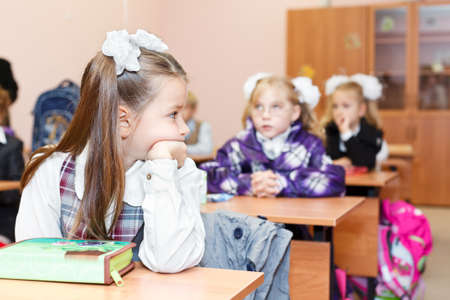SAINT-PETERSBURG, RUSSIA - September 1: Karina Kravtsova, 7, from Vsevolozhsk, Russia first time in first class in school September 1, 2011in Saint-Petersburg, Russia. Stock Photo - 11063918